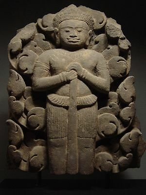 KHMER SANDSTONE BAS RELIEF ELEMENT of VISHNU, ANGKOR WAT 'BAYON' STYLE 13th C.