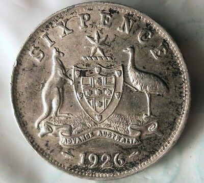 1926 AUSTRALIA 6 PENCE - High Grade AU - SCARCE Date Silver Coin - Lot #922