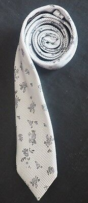 St George By Duffer Woven Silk Tie Grey & Light Grey With Flower Heads Nm-Cond