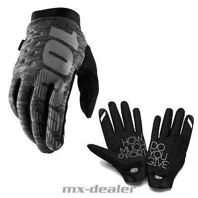 2019 New 100% Percent Brisker Grey Neoprene Winter Gloves MTB Mx Motocross