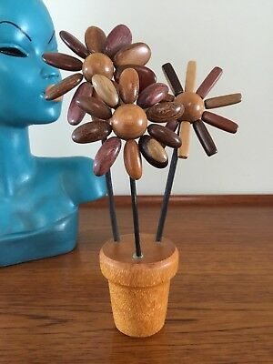 VINTAGE Mid-Century Modern CARVED WOODEN FLOWER POT Teak MONKEY POD