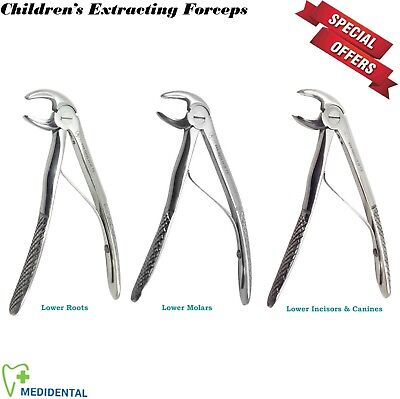 3 x Dental Tooth Extraction Forceps for Lower Roots Molars, Incisors & Canines