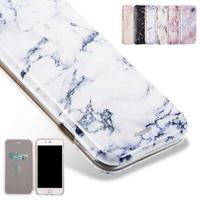 Marble PC Flip Case Shockproof Clear TPU Wallet Cover for iPhone XS 6S 7 8 Plus