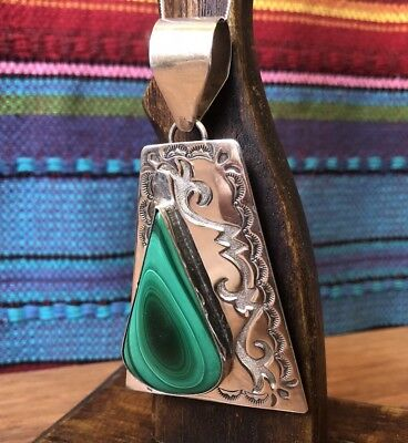 Huge Vintage Signed Native American Sterling Silver Malachite Pendant (29g)