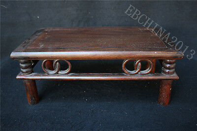 "14"" Old Chinese Rosewood Wood Hand-carved Peony Flowers Tea Table Writing Desk"