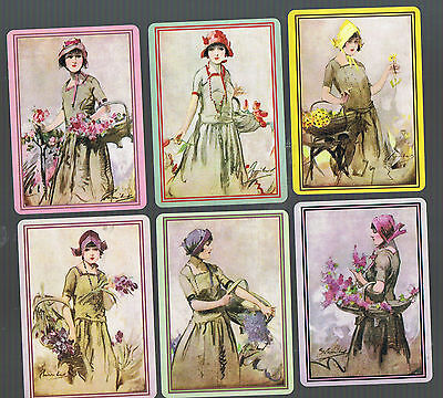 Playing Swap Cards  6  WIDE LADIES CHIC GLAM WITH BASKETS OF FLOWERS ARTIST W345
