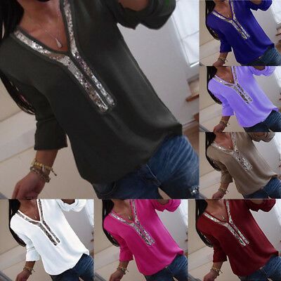 UK Womens Long Sleeve Sequins V-neck Tops Blouse Ladies Casual T Shirt Plus Size