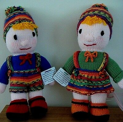 Hand Knitted Boy And Girl Dolls, Brand New.  Super Gift