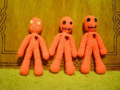 New CROCHET POPPET HOODOO VOODOO DOLL WICCAN WITCHCRAFT MAGIC PINK
