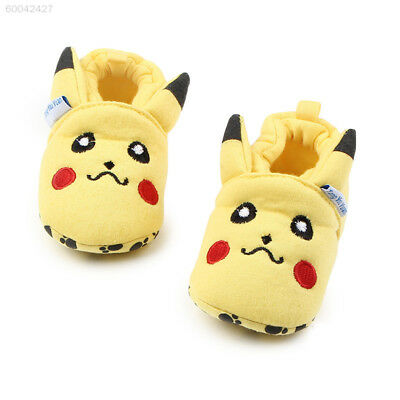 FE16 Pikachu Baby Crib Shoes Newborn Toddler Soft Sole Prewalker Winter Anti-sli