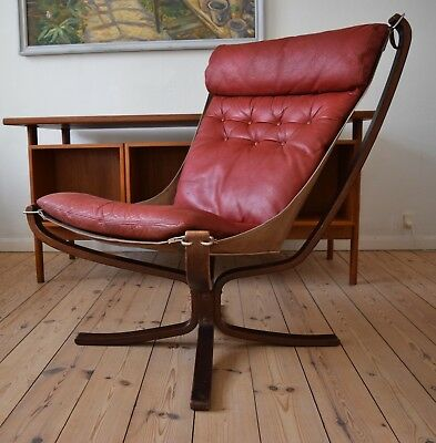 Mid-Century Red Falcon Chair by Sigurd Ressell for Vatne Møbler, 1970s