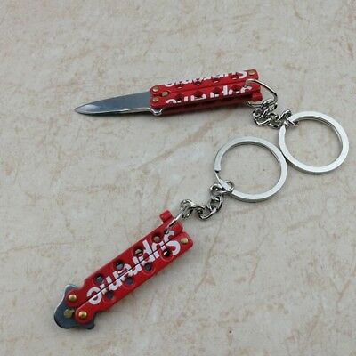 Hot  supreme butterfly knife Keychain key pendant Backpack jewelry Free shipping