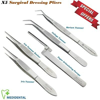 Set 5 x Iris Tweezer Paper Forceps College Plier Dressing Surgical instrument CE