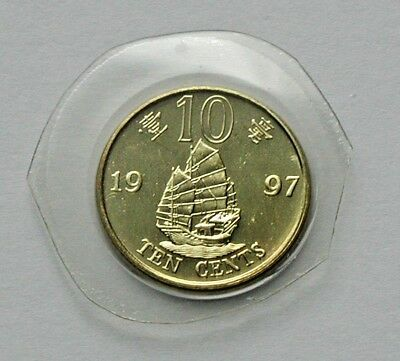 1997 HONG KONG Coin 10 Cents in plastic - cut from mint set - Chinese junk ship