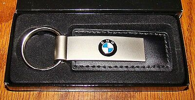 New BMW Logo Leather Key Ring Dealer Promo 3 5/8 inch