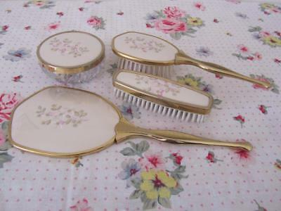 Vintage Gold VANITY SET DRESSING TABLE SET Embroidered Mirror Brushes Crystal