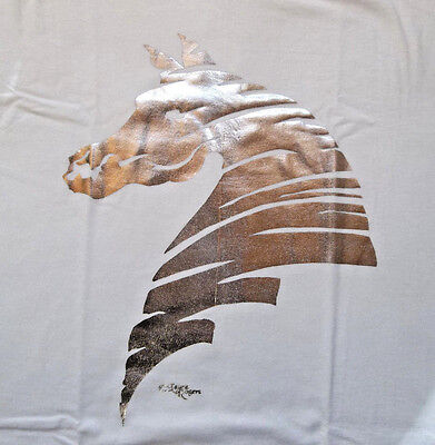 """Silver Foil Horse Silhouette T-shirt  """" White """" Large ( 42 ~ 44 )"""