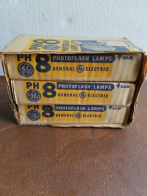 Vintage GE PH8 Camera Flash Bulb Photoflash Lamps General Electric Class M Light