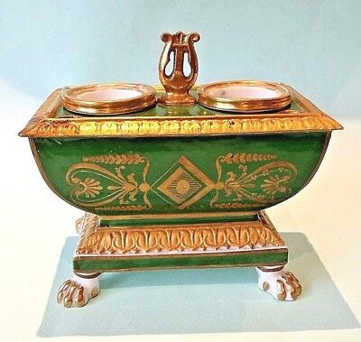 ANTIQUE FRENCH PARIS PORCELAIN INKWELL SARCOPHAGUS Emerald Green  19th Century