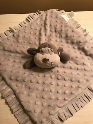 Elegant Baby Gray Brown Taupe Monkey Security Blanket Lovey Minky Dots Fringe