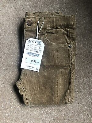 Zara Boys Beige Skinny Cord Trousers Jeans Age 18-24 Months Adjustable Waist