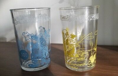2 Vintage Howdy Doody Juice Welch's Jelly Glasses  Blue &  Yellow Exc. Cond.