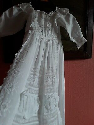 2 beautiful authentic antique children's christening robes or for doll collector
