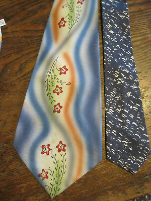 1940'S? SWING Techni Color/AIR BRUSH STYLE HAND PAINTED Floral MENS Vtg NECKTIE