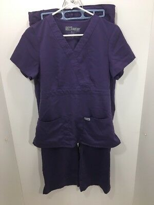 Greys Anatomy Scrub Set Top 4153 Bottom Pants 4232 Purple Size Small