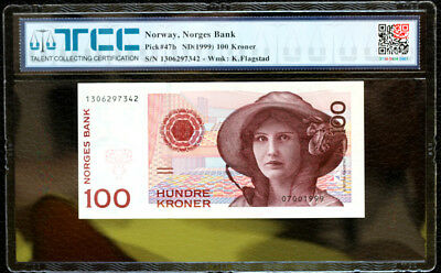Norway Norges Bank Pick 47B Nd 1999 100 Kroner Tcc 66 Epq Gem Unc