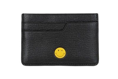 Anya Hindmarch Emoji Printed Wink Face Black Leather Card Case NEW