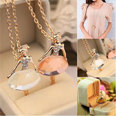 New Women Fashion Ballet Girl Pendant Choker Bib Crystal Necklace Jewelry Party