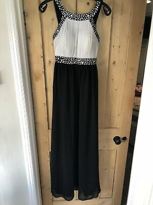 Quiz Black And Grey Maxi Dress Sequin Size 10 Evening Gown Formal Occasion Wear