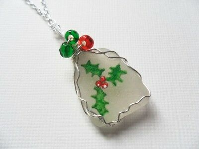 """Christmas sprig of holly necklace, hand painted to order - 18"""" chain beads wire"""