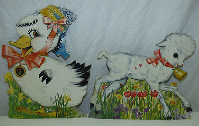 Vtg Lot of 2 Die Cut Paper Easter Lamb Duck Stand Up Display Cards Litho USA