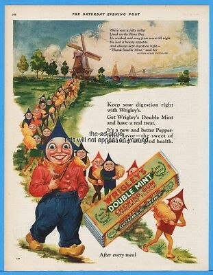 1928 Wrigleys Double Mint Gum Holland Windmill Wooden Shoes Arrow People Ad