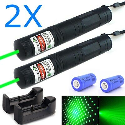 2PC 50Mile Visible Beam Green Laser Pointer 532nm Star Cap Pen+16340Batt+Charger