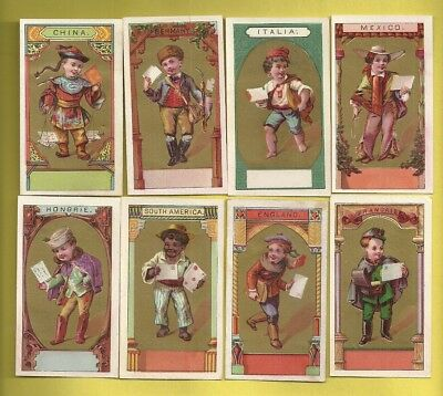 Trade Card Samples WORLD MAIL CARRIERS MAILMEN POSTAL 8 Different Countries