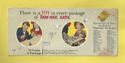 1910 Advertising Blotter PAW-NEE OATS Toy In Every Package