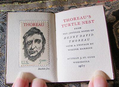 1967 Miniature book Achille St Onge: THOREAU'S TURTLE NEST w/stamp 1/1500