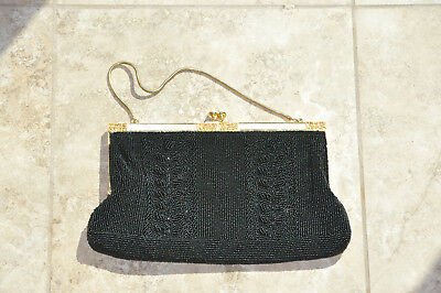 Outstanding Vintage Black Seed Bead Purse w Mother of Pearl Filigree Frame