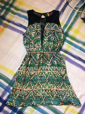 ladies dress one & one collection size medium green & black