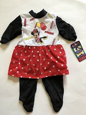 VTG NWT Minnie Mouse Sleeper Pajamas Walt Disney Lullaby Land 0-3 Months