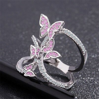 Charming Silver Pink Crystal Butterfly Ring Engagement Jewelry Women's Wedding