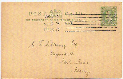1907 KEVII ½d PS PC TAFF VALE RAILWAY PERFIN TVR APPOINTMENT NOTICE->BARRY WALES