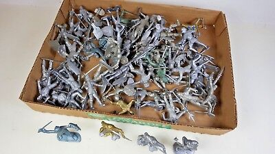 Lot of 65+ Vintage Silver & Gold Medieval Plastic Knights Figures Some Marx