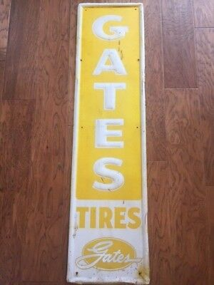 "Large Vintage 1950's Gates Tires Gas Station 54"" Embossed Metal Sign"