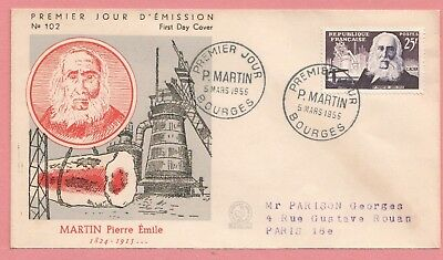 Dr Who 1955 Fdc France Inventors Martin Emile #761 Nice  11937