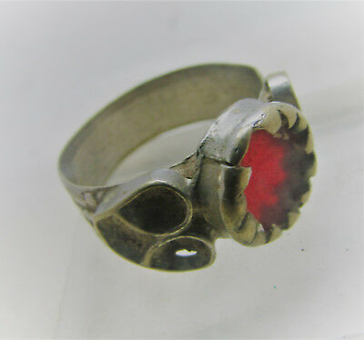 Lovely Post Medieval Silvered Ring With Red Glass Insert