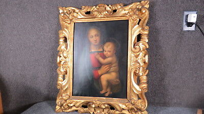 Antique Madonna Painting  Italian carved Frame